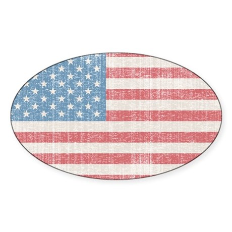 Vintage American Flag Sticker (Oval)