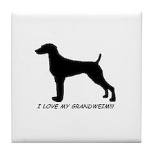 I Love My Grand Weimaraner Tile Coaster