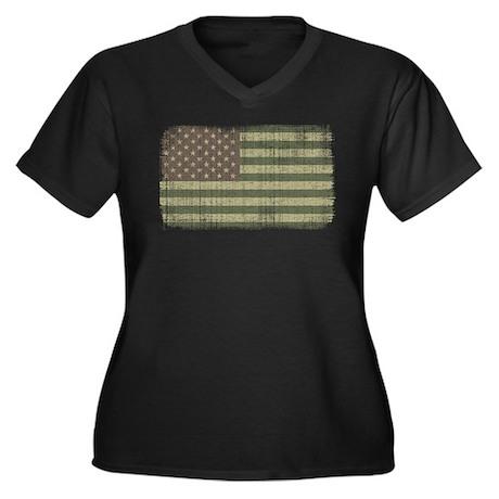 Camo American Flag [Vintage] Women's Plus Size V-N