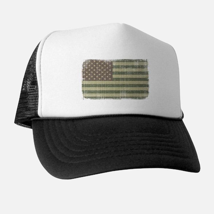 Camo American Flag [Vintage] Trucker Hat