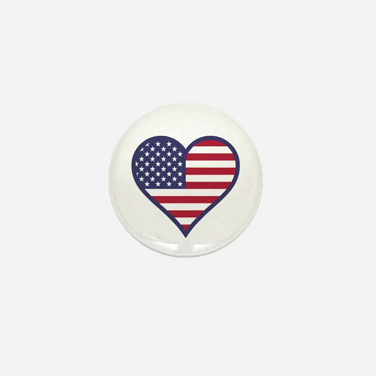 American Flag Heart Mini Button