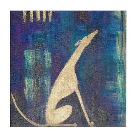 Sitting Greyhound Tile Coaster