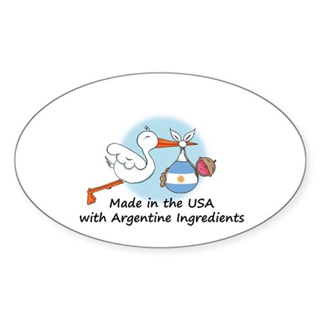 Stork Baby Argentina USA Sticker (Oval)