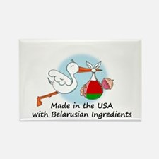 Stork Baby Belarus USA Rectangle Magnet