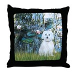 Lilies #1 - Maltese (B) Throw Pillow