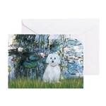 Lilies #1 - Maltese (B) Greeting Card