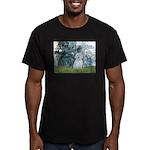 Lilies #1 - Maltese (B) Men's Fitted T-Shirt (dark
