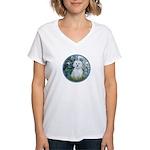 Lilies #1 - Maltese (B) Women's V-Neck T-Shirt
