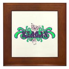 Keagan's Purple-Green Butterf Framed Tile