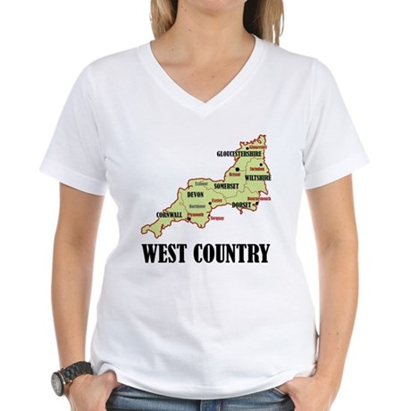 West Country Map Women's V-Neck T-Shirt