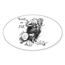Knit or Die Oval Decal