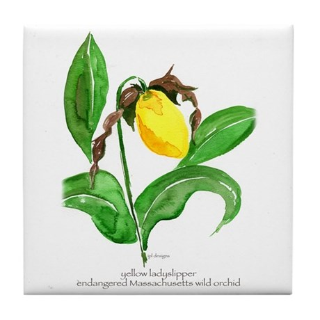 Tile Coaster with watercolor of yellow ladyslipper