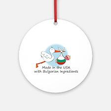 Stork Baby Bulgaria USA Ornament (Round)
