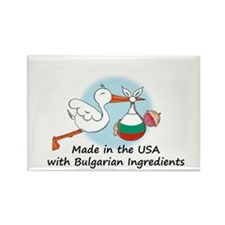 Stork Baby Bulgaria USA Rectangle Magnet