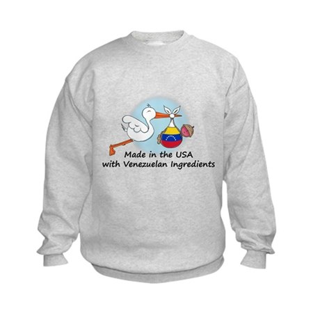 Stork Baby Venezuela USA Kids Sweatshirt