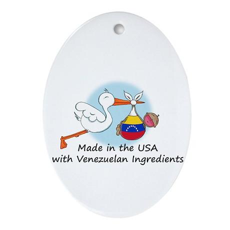 Stork Baby Venezuela USA Ornament (Oval)