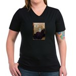 Whistlers Mom / Maltese (B) Women's V-Neck Dark T-