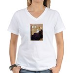 Whistlers Mom / Maltese (B) Women's V-Neck T-Shirt