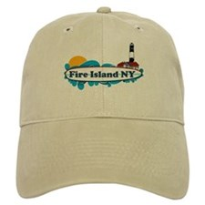 Fire Island NY - Surf Design Baseball Cap