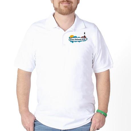 Fire Island NY - Surf Design Golf Shirt