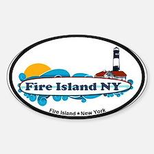 Fire Island NY - Surf Design Sticker (Oval)