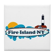 Fire Island NY - Surf Design Tile Coaster