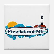 Fire Island NY - Surf Design Tile Coaster
