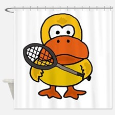 Funny Duck Playing Tennis Shower Curtain