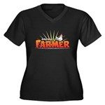 Online Farmer Women's Plus Size V-Neck Dark T-Shir