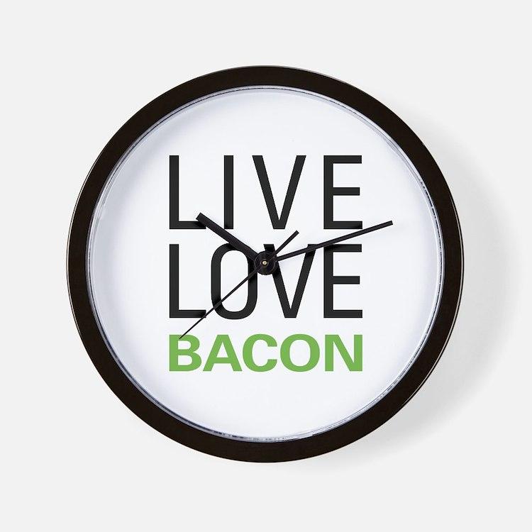Live Love Bacon Wall Clock