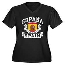Espana Spain Women's Plus Size V-Neck Dark T-Shirt