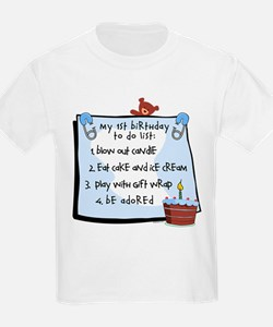 1st Birthday To Do's Blue T-Shirt