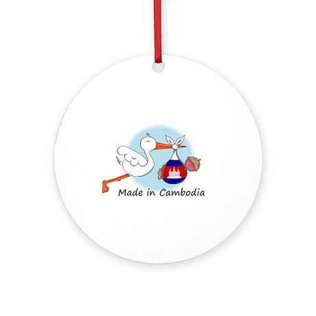 Stork Baby Cambodia Ornament (Round)