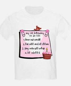 1st Birthday To Do's Pink T-Shirt