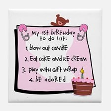 1st Birthday To Do's Pink Tile Coaster