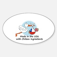 Stork Baby Chile USA Sticker (Oval)