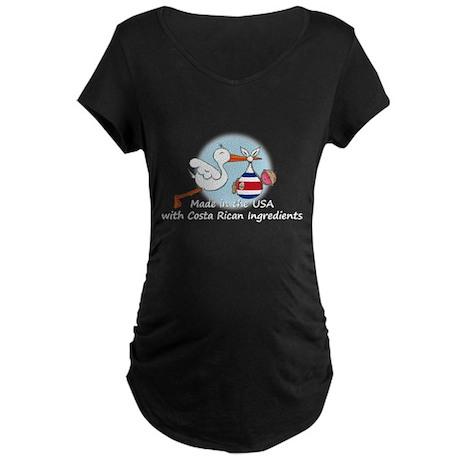 Stork Baby Costa Rica USA Maternity Dark T-Shirt