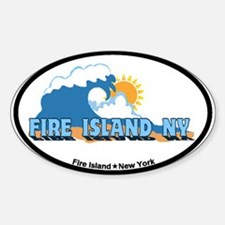 Fire Island - Waves Design Sticker (Oval)