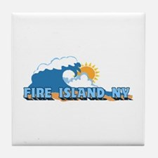 Fire Island - Waves Design Tile Coaster
