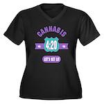 Cannabis 420 Women's Plus Size V-Neck Dark T-Shirt
