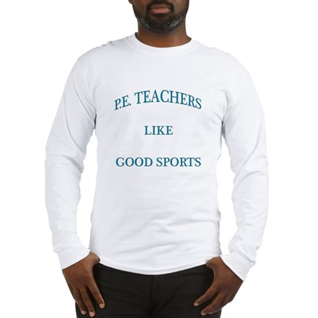 P.E. Teachers Sports Blue Letters Long Sleeve T-Sh