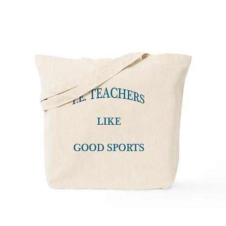 P.E. Teachers Sports Blue Letters Tote Bag