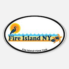 Fire Island - Beach Design Sticker (Oval)