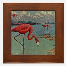 Flamingo Art Framed Tile