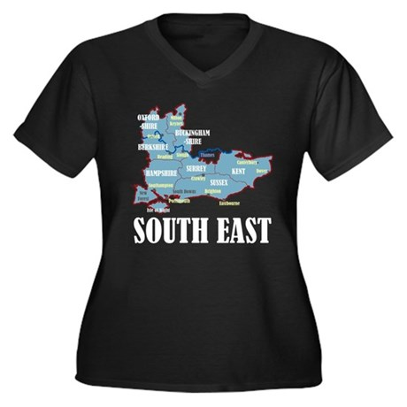 South East Map Women's Plus Size V-Neck Dark T-Shi
