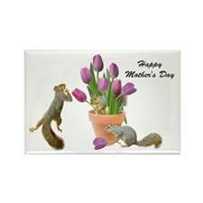 Squirrels with Pink Tulips Rectangle Magnet