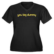 Cute Dummy Women's Plus Size V-Neck Dark T-Shirt