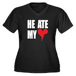 He Ate My Heart Plus Size V-Neck Dark Tee