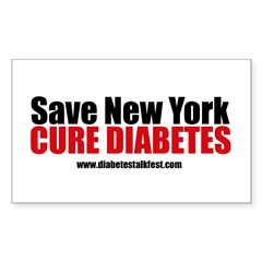 Save New York Cure Diabetes Rectangle Sticker
