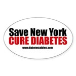 Save New York Cure Diabetes Oval Sticker